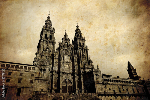 Canvas Print Santiago de Compostela vintage card