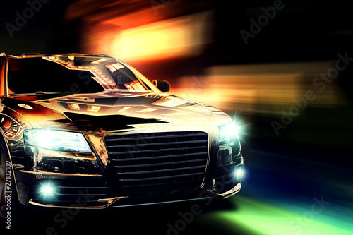 Foto op Plexiglas Snelle auto s Nachtfahrt