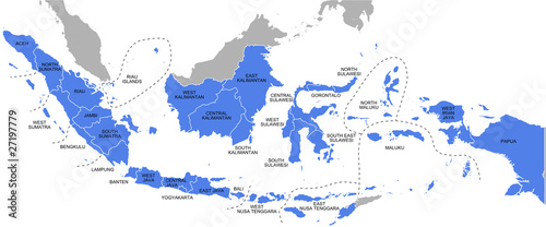 Cuadros en Lienzo Indonesia - provinces map