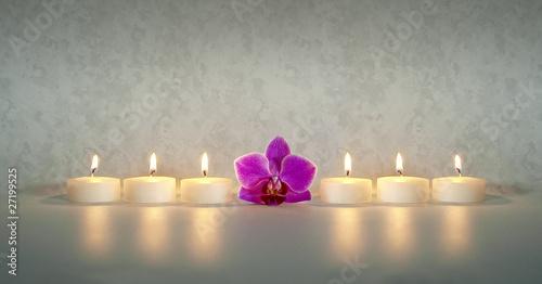 Fotografia  Kerzen mit Orchidee