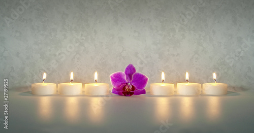 Akustikstoff - Kerzen mit Orchidee