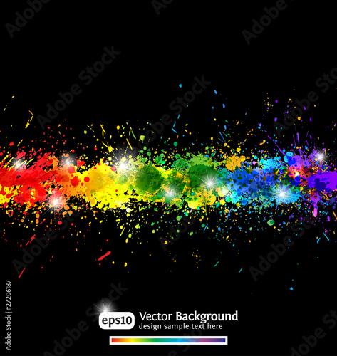 Fotografía  Colorful gradient paint splashes vector background. Eps10