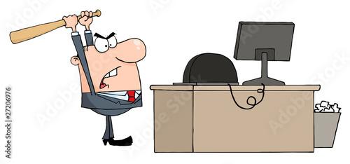 Fényképezés  Angry Businessman With Baseball Bat In Office