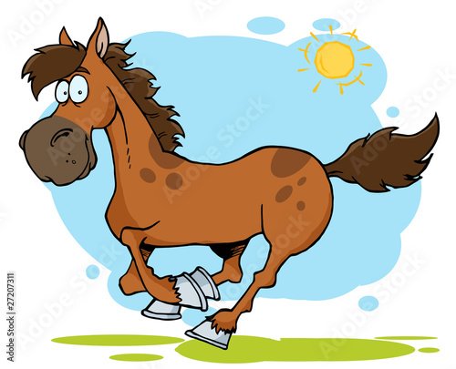 Aluminium Prints Wild West Galloping Cartoon Horse