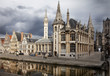 canvas print picture - The historical city core of Ghent, Belgium
