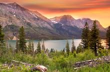 Glacier National Park In Evening Sun Light