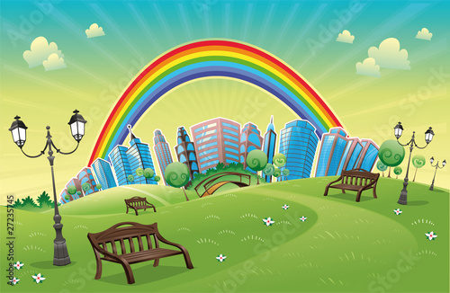 Poster Regenboog Park with rainbow. Funny cartoon and vector scene.