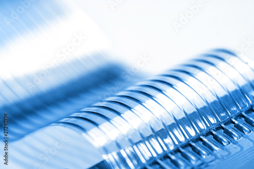 Fotografie, Obraz  Flat flexible cable in blue color tone