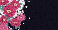 椿・菊・桜の花の和柄...