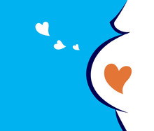 Pregnant Woman Icon With Heart...