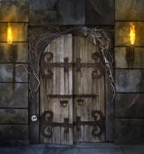 Old Wooden Door Decorated For Halloween