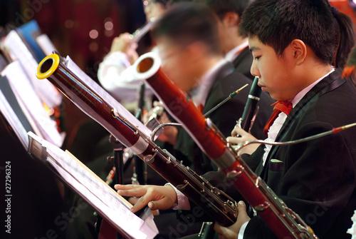 Photo bassoon boy in concert