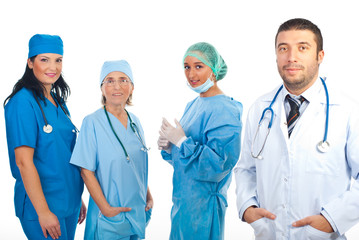 Friendly doctor man and surgeons team