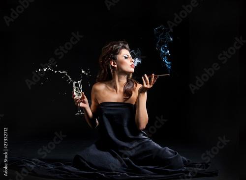 Fotografie, Obraz  Glamour women with champagne
