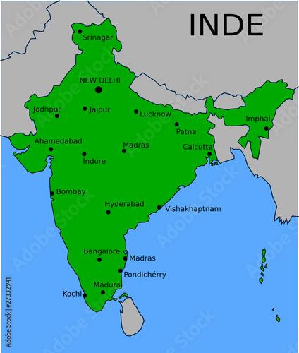 Madras Inde Carte.Carte Des Villes Principales D Inde Buy This Stock Vector