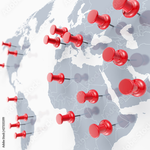 Fotobehang Wereldkaart Weltkarte mit Pinn