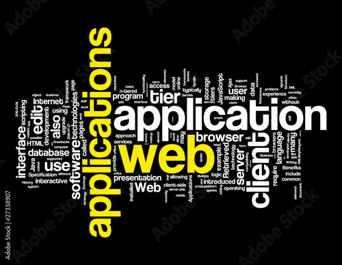 фотография  Web Applications Word Tags on black background