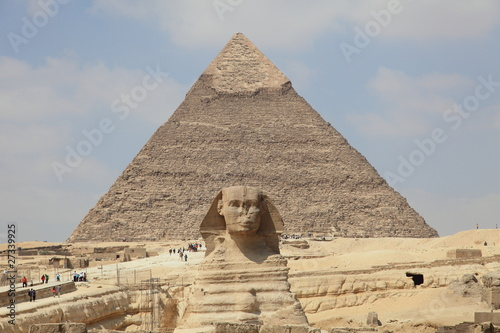 Tuinposter Egypte Sphinx and Pyramid in Giza, unesco world heritage, Egypt