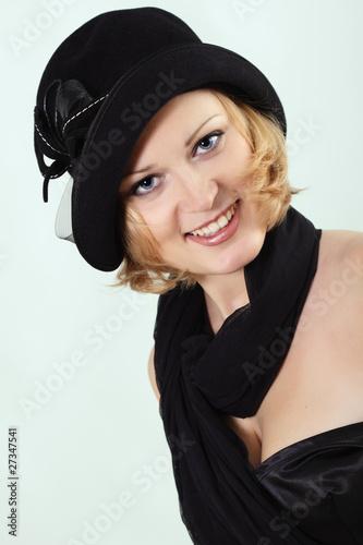 Fotografie, Obraz  lady charming with black hat