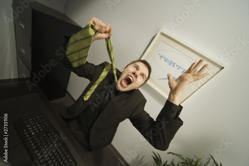 Businessman Frustrated In Office Wallpaper Mural