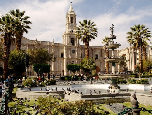 Plaza de armas and cathedral in Arequipa Canvas Print