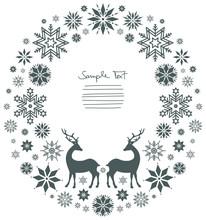 Christmas Wreath Standing Reindeer Grey