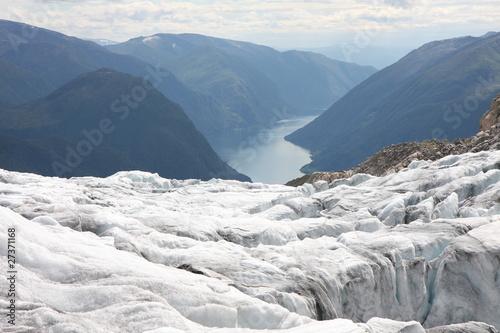 Obraz na plátne  Glacier et fjord, Norvège