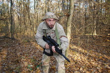 Us Marine In A Forest  With Hi...