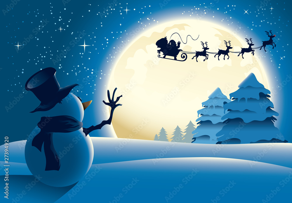 Foto-Doppelrollo - Lonely Snowman Waving to Santa Sleigh