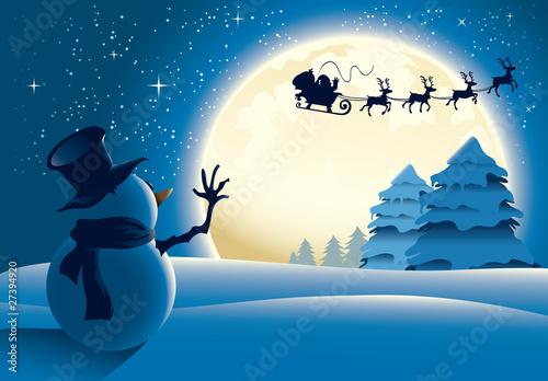 Foto-Plissee - Lonely Snowman Waving to Santa Sleigh (von Louis D. Wiyono)