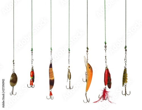 Door stickers Fishing seven artificial angling baits