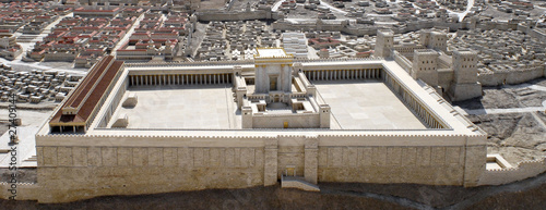Spoed Foto op Canvas Bedehuis Second Temple of Jerusalem Model