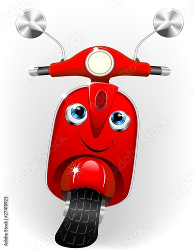 Poster Motocyclette Scooter Cartoon Baby-Vector