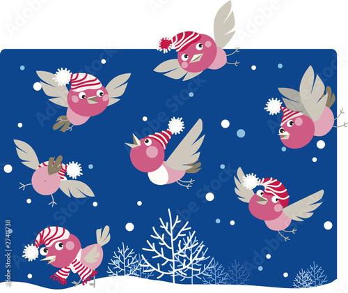 Poster Vogels, bijen Funny winter birds