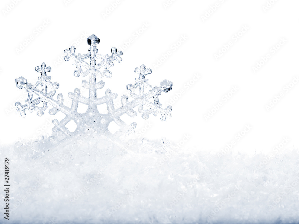 Foto-Doppelrollo - Snowflake in snow.