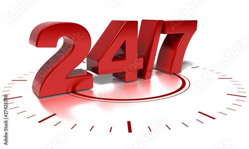 Foto  sept jours sur 7 vingt quatre heures sur 24  - signe symbole