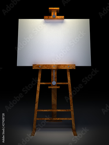 Photo  Wooden easel with blank canvas isolated on black