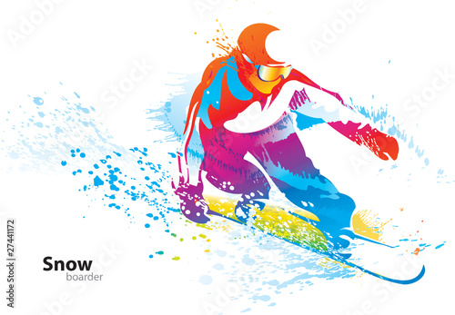 Fotografie, Obraz  The colorful figure of a young man snowboarding with drops and s
