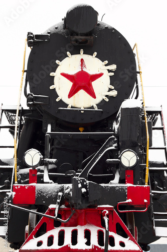 Papiers peints Rouge, noir, blanc old Soviet locomotive