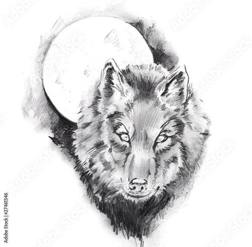 Nowoczesny obraz na płótnie Sketch of tattoo art, wolf