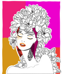 Hand drawn pop-art poster of a fashion model, 2
