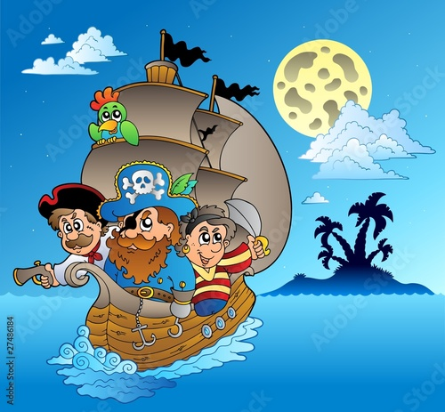 Three pirates and island silhouette