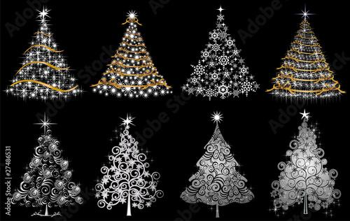 Photo Set alberi argento oro e luci