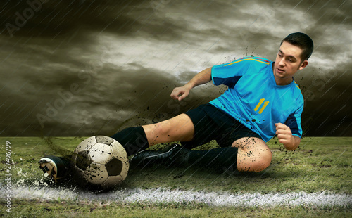 Foto op Plexiglas Voetbal Soccer players on the field