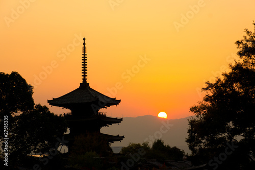 Keuken foto achterwand Kyoto beautiful sunset in Kyoto, japan