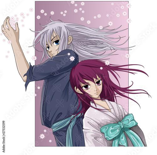 chlopiec-i-dziewczynka-na-rozowym-tle-anime