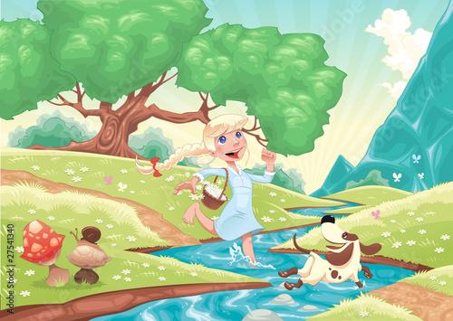Młoda dziewczyna biegnie z psem w naturze.