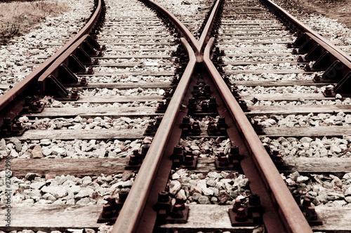 Spoed Foto op Canvas Spoorlijn Schienen