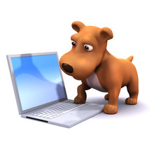 3d Small Dog Checks His Email