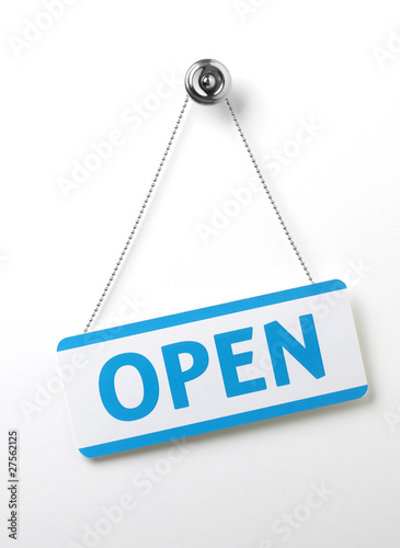 Fotografia  process blue angled open door sign on a silver chain on a white